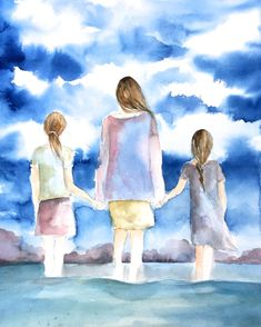 Your place to buy and sell all things handmade mother and and two daughters by the ocean by claudiatremblay on Etsy Mother Daughter Art, Mother Daughter Pictures, Nursery Wall Art, Wall Art Decor, Room Decor, Mother And Child Painting, Nursery Pictures, Sisters Art, Two Daughters