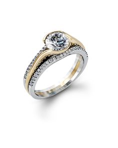 Bezel Set Yellow Gold and White Gold Engagement Ring from Steven Singer Jewelers!