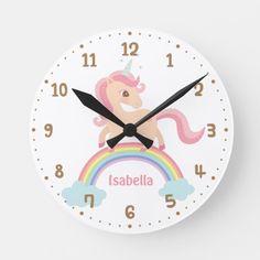 Cute Unicorn Rainbow Girls Room Decor Wall Clock - Customize size or add text. Cute Unicorn, Cute Rainbow Unicorn, Unicorn Gifts, Girl Room, Girls Bedroom, Bedroom Wall, Kid Bedrooms, Baby Bedroom, Bed Room