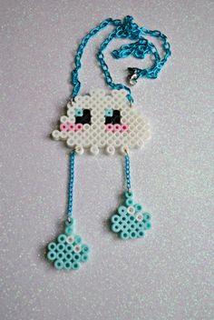 Items similar to Kawaii Perler Bead Cute Rain Cloud Necklace on Etsy Perler Bead Designs, Hama Beads Design, Diy Perler Beads, Pearler Bead Patterns, Perler Bead Art, Perler Patterns, Pixel Art, 8bit Art, Peler Beads