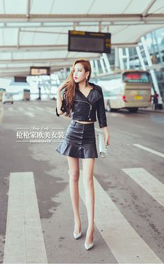 BOSSY LADY2016秋季女式高腰顯瘦包臀單排扣加薄絨皮裙魚尾半身裙-淘宝网全球站