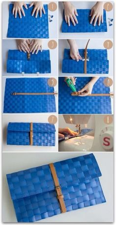 Quick fun clutch for a fun event. How to make a clutch out of a place mat (image Diy Projects To Try, Craft Projects, Sewing Projects, Diy Handbag, Diy Purse, Diy Sac, Ideias Diy, Diy Accessories, Diy Fashion