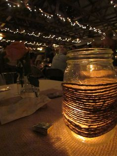 Our twine wrapped mason jars glow beautifully at night with a tealight inside! @ Khimaira Farm outdoor barn wedding venue Shenandoah Valley Blue Ridge Mountains Luray VA