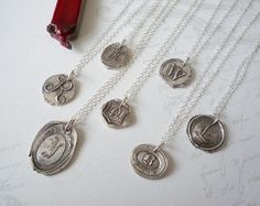 Wax Seal Initial Monogram Necklace from Antique Wax Seals