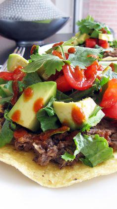 Black-Bean Tostados With Roasted Tomatillo Sauce Recipe — Dishmaps