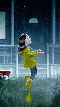 Art And Illustration, Illustration Mignonne, Illustrations, Pascal Campion, Walking In The Rain, Singing In The Rain, Character Art, Character Design, I Love Rain