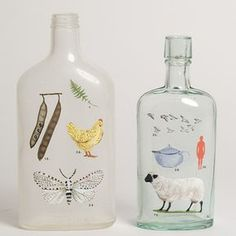 Botellas pintadas de Laura Normandis