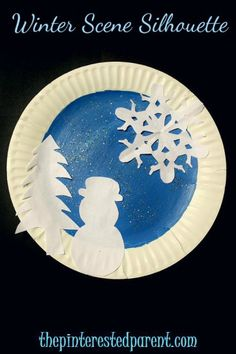 Paper plate winter scene silhouettes - winter crafts for kids
