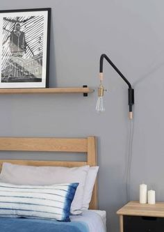 Steel tube, fixings & hardwood endsSupplied with bulb, brass fitting & fabric cord*The lamp arm swings on rubber bushings Finish: Powder coated steel Dimensions mm reach Furniture, Brass Fittings, Lamp, Bedside Lamp, Bedside, Floating Nightstand, Home Decor, Hardwood, Fittings