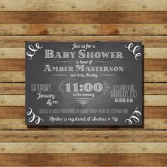 Chalkboard Baby Shower Invitation DIGITAL FILE by ThePartyPants, $15.00