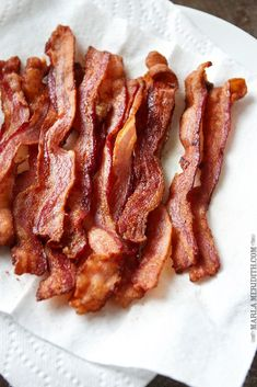 How to: Perfectly Baked Bacon   400 degree oven for 15 to 18 minutes on a foil lined pan with sides. Let drain on paper towel lined plate.