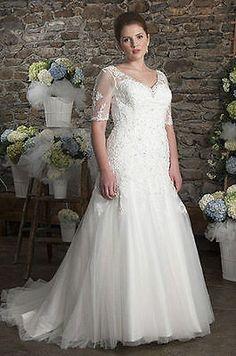 Half Sleeve Lace Wedding Dress Bridal Gown Plus Size Custom 18 20 22 24 26 28