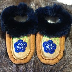 Athabascan Ladies Moccasins by AlaskaBeadwork on Etsy Bead Sewing, Plastic Beads, Rabbit Fur, Beaded Embroidery, Blue Flowers, Moccasins, Seed Beads, Faux Fur, My Etsy Shop