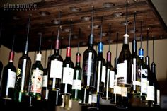 30 Wine Bottle Light Chandelier Hanging from Wood Rack Pendant Lighting Wood Lamps