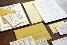 Yellow and Gray Patterned Letterpress Wedding Invitations