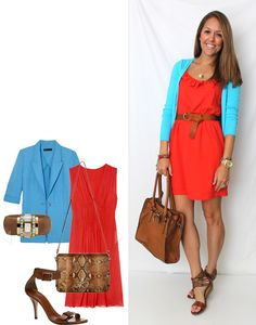 Blue and coral. Love the way every color goes in today's fashion