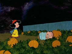 There's that blockhead Linus, freezing his heiny off waiting for the Great Pumpkin in the world's most sincerest pumpkin patch everrr! :)