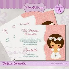 KIREIDESIGN: Tarjetas / Recordatorios de Primera Comunión Ideas Para Fiestas, First Communion, Graphic Design Inspiration, Holi, Clip Art, Place Card Holders, Invitations, Paper, Tictac