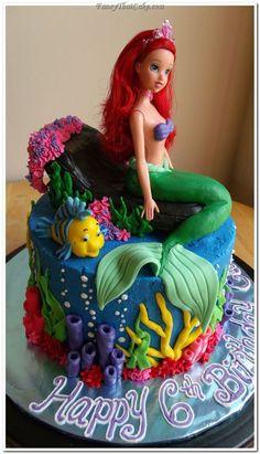 bolo do pequena sereia