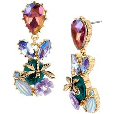 Betsey Johnson Spring Ahead Cluster Earrings ($40) ❤ liked on Polyvore featuring jewelry, earrings, multi, gold tone earrings, iridescent rhinestone earrings, betsey johnson jewelry, iridescent earrings and post earrings