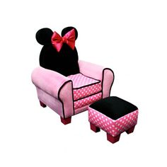 Accent Chairs: Kids Upholstered Chair and Ottoman Set: Disney Minnie Mouse Chair Kids Sofa Chair, Chair And Ottoman Set, Mickey E Minie, Minnie Mouse, Toddler Sofa, Toddler Girls, Mickey Mouse Bedroom, Theme Mickey, Disney Theme