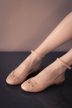 Womens shoes  flats with ankle strap  leather by TheBalletBird,