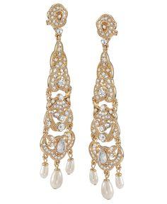Carolee Earrings, Gold Tone Linear Chandelier Earrings - All Fashion Jewelry - Jewelry & Watches - Macy's