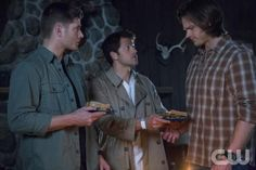 Dean, Cass & Sam. Cass made them ham sandwiches as a peace offering how cute. This was when Cass's head was messed up from taking on Sam's problem with Lucifer.