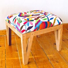 blonde tray mexican interiors | upholstered in mexican otomi fabric each leg is colored on one side ...