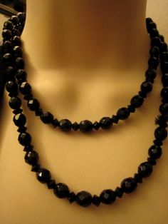 Long Art Deco Sparkling French Jet Black by volovintagejewelry, $39.00