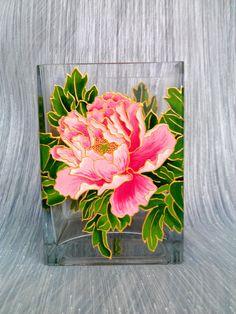 Peonies Vase Glass vase Square vase Hand by PaintedglassbySveti