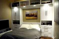 White Murphy Bed with Shaker fronts and lights!