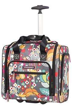 Lily Bloom Under the Seat Design Pattern Carry on Bag With Wheels * Remarkable product available now.(This is an affiliate link and I receive a commission for the sales) : Luggage Travel Gear Luggage Sale, Travel Luggage, Travel Bags, Travel Gifts, Underseat Carry On, Rolling Bag, Lily Bloom, Back Bag, Best Handbags