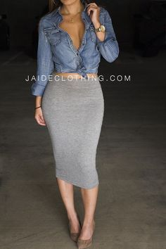 outfits with gray midi skirt - Google Search