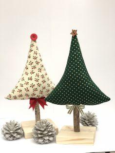 Handmade home decorations. Fabric Christmas Trees, Handmade Christmas Tree, Christmas Tree Crafts, Christmas Sewing, Christmas Makes, Christmas Projects, Holiday Crafts, Christmas Holidays, Christmas Ornaments