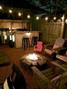 Backyard Seating, Backyard Patio Designs, Small Backyard Landscaping, Fire Pit Backyard, Landscaping Ideas, Patio Ideas, Small Patio, Small Yards, Backyard Pools