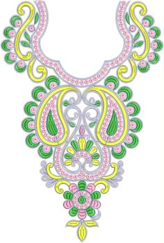 Fashion Women Neck Embroidery Design