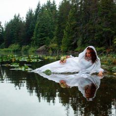 Ophelia Submerged XXXIII  2011 Kimberley, Spectacle Lake  You can't see it here, but she had to crawl out onto this deeep, muddy spit. Seriously, I was nearly up to my waist in mud for this shot. And the mud smelled so horrible!  #Ophelia...