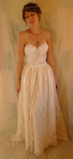Woodland Flower Bustier Wedding Gown or Formal Dress… size Small… whimsical alternative fairy boho lace floral romantic free people fantasy by Jada Dreaming on Etsy $410
