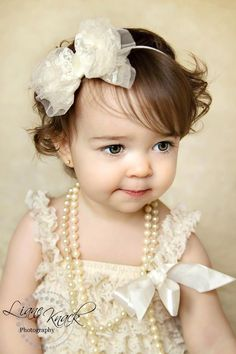 Ivory Cream Lace Bow Headband Dressy baptism by bellasbowtique2008, $9.99