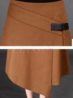 Asymmetric A-Line Split Wool Skirt - Foto Fashion, Diy Fashion, Skirt Pants, Jacket Dress, Cute Dresses For Party, Cheap Maxi Dresses, Chiffon Skirt, Chiffon Saree, White Chiffon