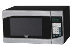 Microwave Oven Premium Compact Countertop Electric Stainless Steel Black 900 Watt Cookware with Turntable by Oster