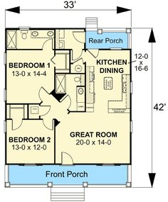 Charming Country Cottage - floor plan - Main Level ~ Optional basement stair addition on back shown in blueprint. Cottage House Plans, Small House Plans, House Floor Plans, Farm House, 2 Bedroom House Plans, Monster House Plans, Craftsman Style House Plans, Craftsman Houses, Craftsman Interior