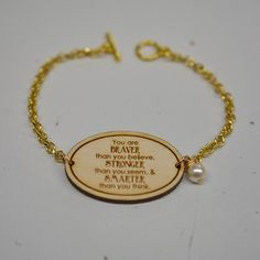 you are braver than you believe ngraved wood bracelet, choose Swarovski accent