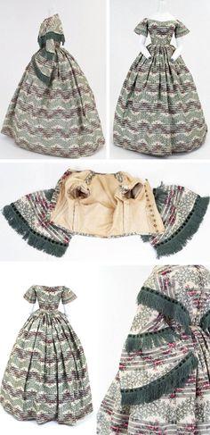 Dress with day & evening bodices, European, ca. 1860s. Silk taffeta…