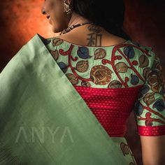 Experience premium designs and luxury with our Kanchi Silk Collection. This Apple Green Kanchi Silk saree crafted with sequence highlighted… Blouse Back Neck Designs, Best Blouse Designs, Silk Saree Blouse Designs, Silk Sarees, Half Saree Designs, Stylish Blouse Design, Designer Blouse Patterns, Bollywood Saree, Bollywood Fashion
