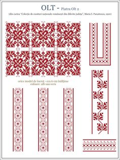 Semne Cusute: OLTENIA - model de iie din Olt, Piatra Olt Cross Stitch Borders, Cross Stitch Designs, Cross Stitching, Cross Stitch Patterns, Embroidery Motifs, Learn Embroidery, Embroidery Designs, Blackwork, Embroidery Techniques