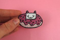 Donut cat embroidered patch  Iron on patch  sew by ilikeCATSshop
