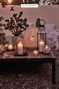 Enjoy your garden or patio with our beautiful outdoor accessories, from serveware to torch lanterns & garden fairy lights from The White Company. Outside Lanterns, Patio Lanterns, Outdoor Candles, Large Lanterns, Lanterns Decor, Pillar Candles, Outdoor Lantern, Lantern With Fairy Lights, Tea Lights