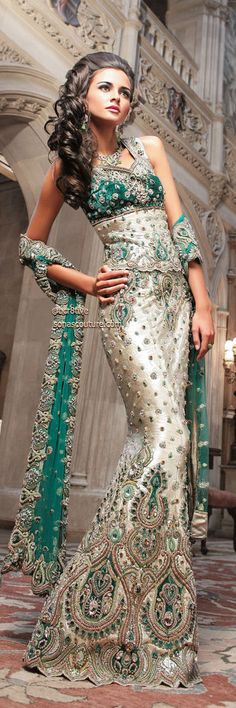 This Sari is gorgeous. Emerald and Silver Fishtail Couture Bridal.Wanna see it in blue, gold or purple. Mode Bollywood, Bollywood Fashion, India Fashion, Asian Fashion, Ethnic Fashion, Indian Dresses, Indian Outfits, Beautiful Gowns, Beautiful Outfits